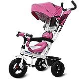 三輪車 ベビーカー 両用 ベビーバギー 3輪自転車 子供 対象1~6歳 (pink)