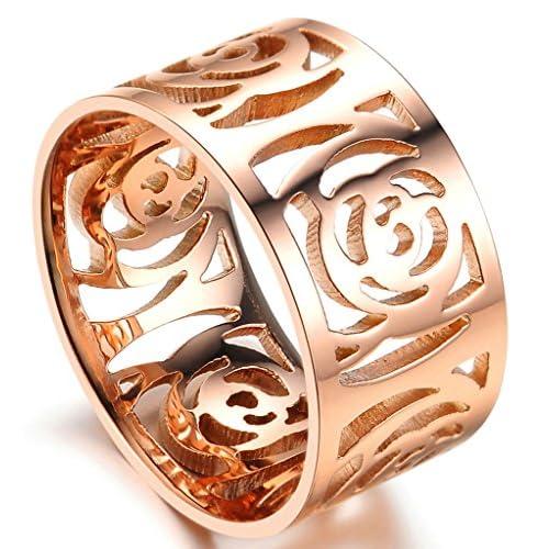 (キチシュウ)Aooazジュエリー レディースステンレスリング指輪 透かし彫りの花のデザイン ピンクゴールド 高品質のアクセサリー 日本サイズ9号(USサイズ5号)