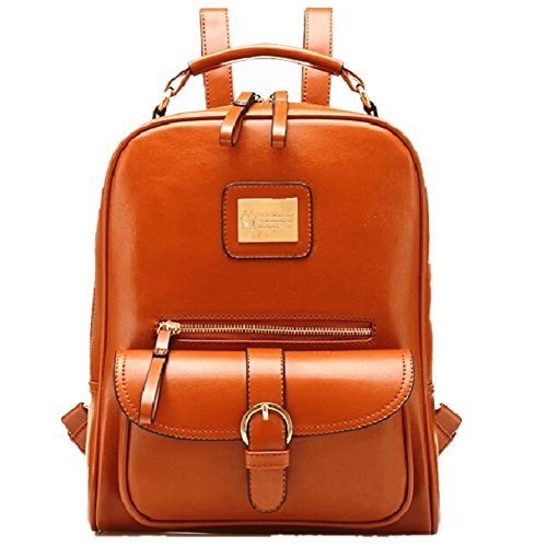 Emoyi Fashion British style Vintage Ladies Leather Shoulder Bag Backpack School Bag (Brown)