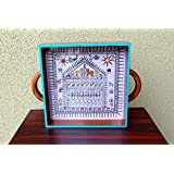 Advaita Handicrafts wood Serving Tray Blue (Medium); 24.13 x 24.13 x 5.08 CM