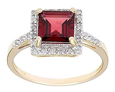 10k Yellow Gold 1.85ct Square Garnet and Diamond Ring
