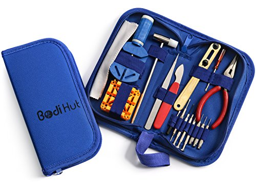 Bodi Hut Watch Repair Tool Kit with Strong Storage Case, Microfibre Cleaning Towel and Full Step By Step Instructions (16 pieces) (Kit Of Tools Repair compare prices)