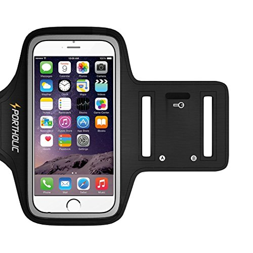 Sportholic 518100 iPhone 6/6S Armband Water Resistant Sports Running Armband with Key Holder, Cable Locker, Cards Holder for iPhone 6/6S, Galaxy S6/S5/S4, iPhone 5/5C/5S up to 5.1