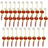 Plastic Bead String Hanging Adorn Chinese Lantern 30 Pcs Gold Tone Red
