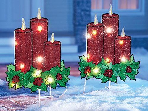Lighted christmas candle garden stakes set of 2 for Outdoor christmas candles