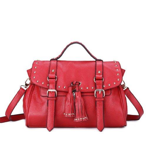 Vintage 2013 Spring New Arrival Casual Fashion Rivet Tassel Cross-Body Women'S Handbag Red