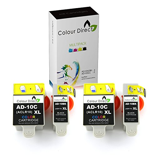 Colour Direct 4 (2 SETs) Advent Compatibile Nero & Tri-Colore ABK10 & ACLR10 Cartucce d'inchiostro. 2 X Nero e 2 X Colore