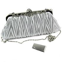 Missy K Pleated Clutch Purse, Satin, with 2 Detachable Straps - Silver + kilofly Money Clip