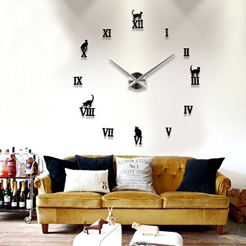 bluelover diy gro e clock 3d s e katze spiegel wand uhr. Black Bedroom Furniture Sets. Home Design Ideas