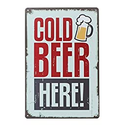 Yours Dec Metal Tin Sign Cold Beer Here At the Pub Bar Retro Metal Vintage Style Wall Decor Tin Sign 12 X 8inches
