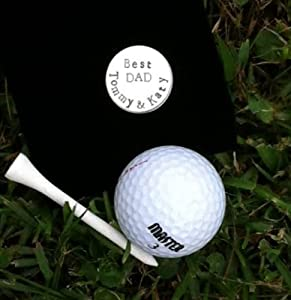 Custom Silver Golf Ball Marker - Best Dad with personalized two names - Silver Hand... by Dessas Designs