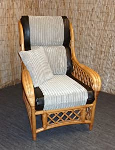 Replacement Cushion Covers for Cane Wicker and Rattan Conservatory and Garden Furniture - Jumbo Cord & Black Faux Leather by Zippy UK