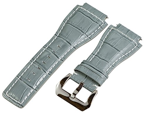 24Mm Grey / White Croco Leather Replacement Watch Band Strap - Made For Bell & Ross