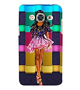 WESTERNIZED GIRL WITH A CHECK COLOURED BACK GROUND 3D Hard Polycarbonate Designer Back Case Cover for Samsung Galaxy J3 Pro :: Samsung Galaxy J3 (2017)