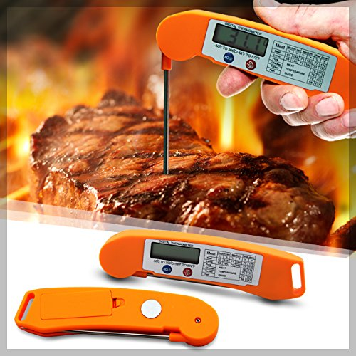 AmaziPro8 Best Digital Meat Thermometer with Instant Read, Large Display, Auto-Shutoff, Battery Included, Grill Thermometer comes with FREE 8 Downloadable Recipe Books