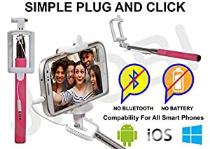 Selfie Stick Monopod With Wired Aux Cable Connectivity Compatible For Micromax Canvas Juice 3 Q392 -BabyPink