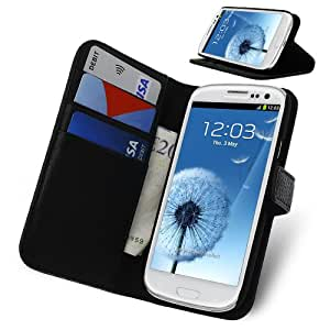 Black Executive PU Leather Wallet Case for Samsung Galaxy S3 I9300