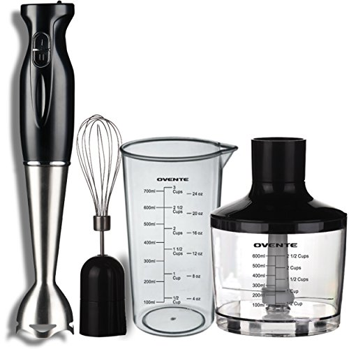 Ovente HS585B Robust Stainless Steel Immersion Hand Blender with Beaker, Whisk Attachment and Food Chopper, Black (Stainless Food Chopper compare prices)