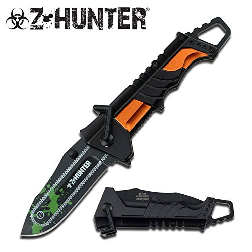 Z Hunter Black Orange Zombie Knife Chainsaw Zomber Hunter Survival Tatical Camping Hunting Pocket Knife