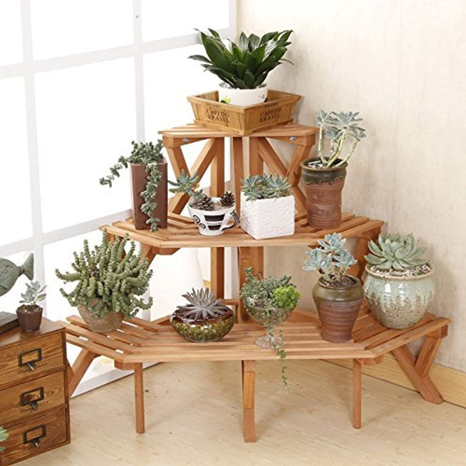 2016 new style 3 tier fir wood conner standing flower pot rack step style plant display stand - Corner shelf for plants ...
