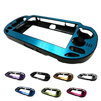BLUE PlayStation PS VITA Aluminum Brushed Metal Plated Plastic Crystal Case Skin Protector Cover + Free Screen Protector (Many Colors Available) (BLLUE)