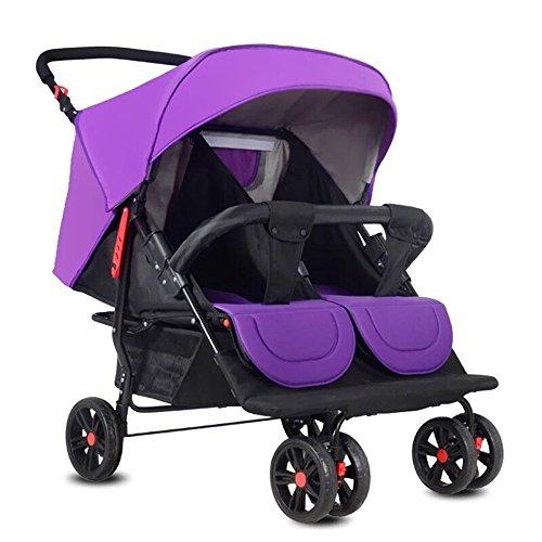 Homehalo 二人乗りベビーカー 可愛いベビーバギー 折りたたみ 軽い2人乗りベビーカー 通気性良い 買い物かご付き 対象 新生児~36ヶ月 (パープル)
