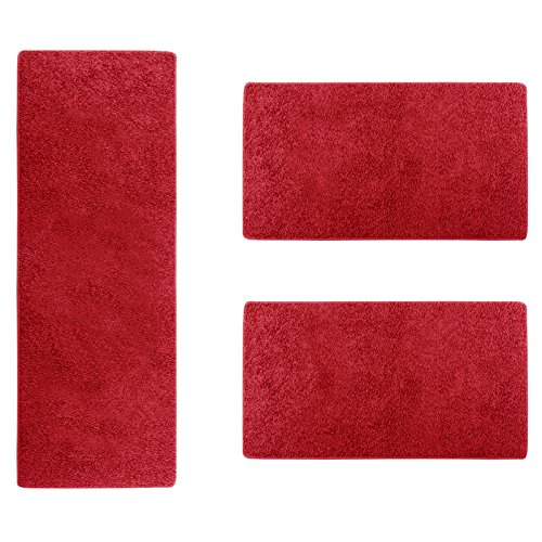 casa-pura-Shaggy-Bettumrandung-Sphinx-Lufer-Set-3-teilig-fr-Schlafzimmer-Hochflor-viele-Farben-whlbar-Rot