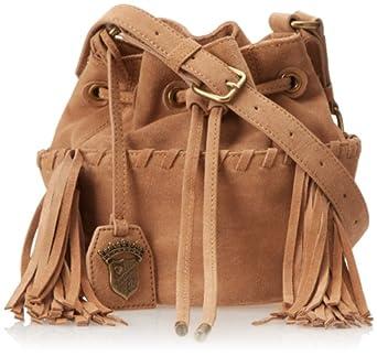 Juicy Couture Fringe Mini Bucket Shoulder Bag,Camel Suede,One Size