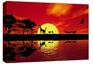 Extra Large 4ft Wide Africa Red Toned Canvas Picture mounted and ready to hang 47 x 32 inches (119 x 82 cm) 3.2 cm frame by CANVAS INTERIORS