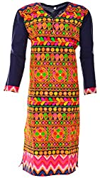 Sree Hamsa Women's Cotton Regular Fit Kurta (Blue)