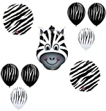 ZEBRA Jungle ZOO Safari Black White Stripes Party ANIMAL Mylar BALLOON Kit SET