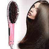 ACEVIVI Digital Anti Static Ceramic Hair Straightener Heating Detangling Hair Brush Paddle Brush for Faster Straightening Styling, 29W, (230V-110V), Pink