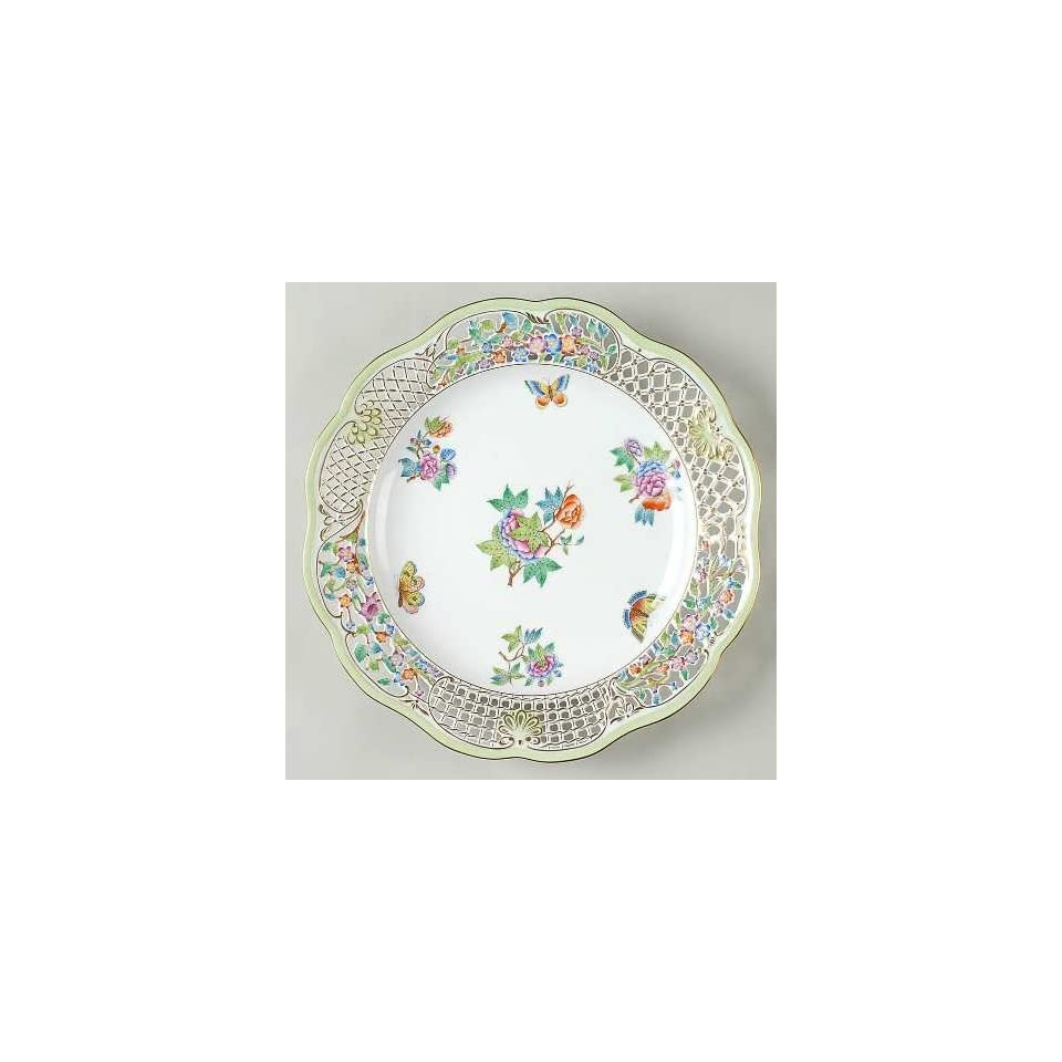 Herend Queen Victoria (Green Border) Pierced Plate, Fine China Dinnerware