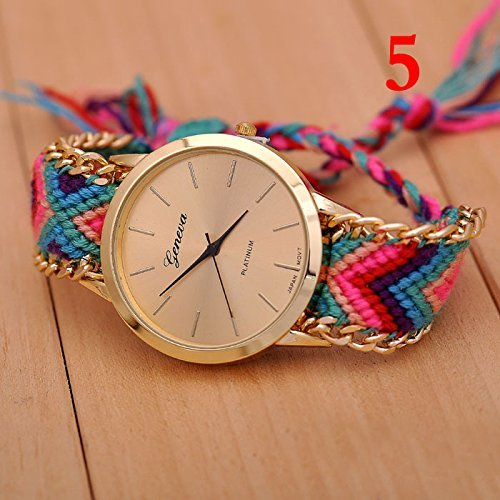 New Geneva Gold Dial Thread Knitted Alloy Chain Women Ladies Bracelet Watch Jewelry #5 image