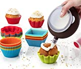 Cupcake Liners Complete Set: Pack of 24 Muffin Cake Molds Silicone Cups + Corer Plunger + Cake Decorating Kit Bag Pen + 5 Icing Tips by Maxi Nature
