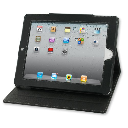 PDair BX2 Black Leather Case for Apple iPad 2 (With Magnet Closure)