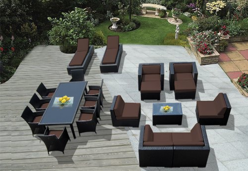 Genuine Amazing Ohana Outdoor Sectional Sofa, Dining and Chaise Lounge Wicker Patio Furniture Set (20 PC set) with Free Patio Cover