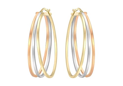 9ct 3 Colour Gold Oval Polished Creole Earrings