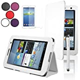 "SAVFY® Samsung Galaxy Tab 2 7.0 Leather Case Cover and Flip Stand, Bonus: Screen Protector + Stylus Pen + Clean Cloth (for Galaxy Tab 2 7"" INCH P3100 P3110) (flip stand WHITE)"