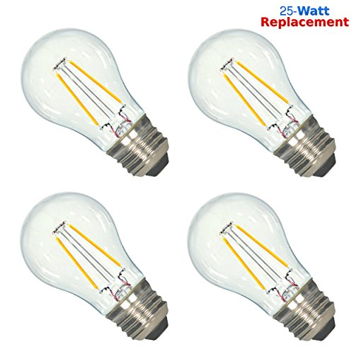 Luxrite LR21237 (4-Pack) 2-Watt LED Filament A15 Light Bulb, 25W Incandescent Light Bulb Replacement, Warm White 2700K, 200 Lumens, 280° Flood Beam, 80 CRI, 15,000 Hour Life, E26 Base (Filament Bulb 25w compare prices)
