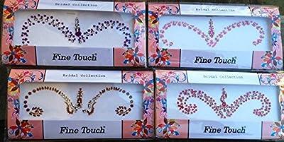 Lightahead® 5 LARGE PACK BOLLYWOOD HEAD BINDI TATTOO INDIAN ART RHINESTONE STICKON REUSEABLE (GOLD,PURPLE,RED,GREEN,PINK)