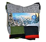 TeeHee Recycled Cotton Thermals Boot Socks with 2 Color Top 4 Color 4-Pack, Size 10-13