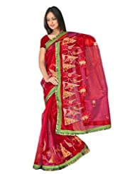 Sehgall Sarees Super Net Saree Attached Brocket Border And Blouse Red Saree - B00JUH74TE