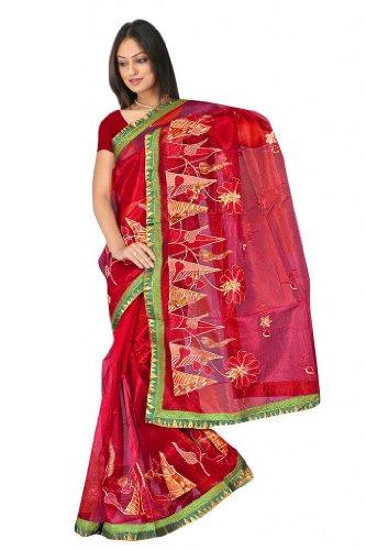 Sehgall Sarees Super Net Saree Attached Brocket Border And Blouse Red Saree - B00JUH74TE