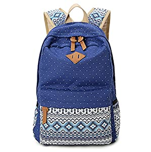 Hitop Geometry Dot Casual Canvas Backpack Bag, Fashion Cute Lightweight Backpacks for Teen Young Girls (Navy)