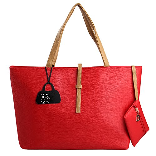 Hynes Eagle Ladies Shopper Tote Handbag Patterns With Coin Wallet (Red) front-47489