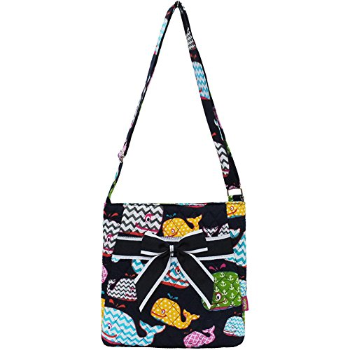 Quilted Whale Print Quilted Messenger Bag (Navy)