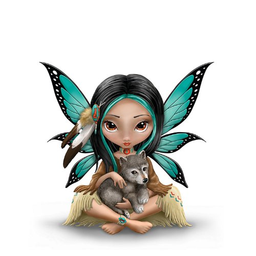 Moonheart, The Spirit Of Strength Wolf And Fairy Fantasy Art Figurine by The Hamilton Collection