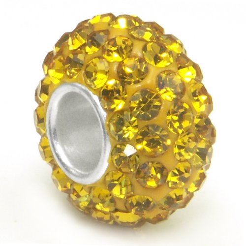 Citrine Yellow Crystal Ball Bead Sterling Silver