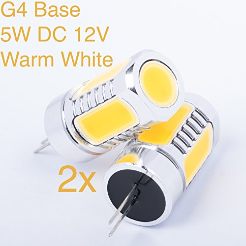 Weanas® 2X G4 Base Led Light Bulb Lamp 5 Watt Dc 12V Warm White Undimmable Equivalent To 40W Incandescent Bulb Replacement